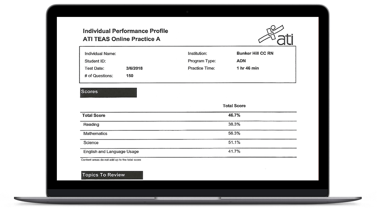 ATI TEAS Online Practice Assessment Package - For Students | ATI